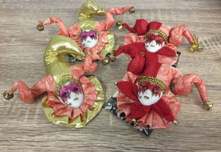 Set of 4 Jester Masquerade Wall or Tree Hanging ~ ORANGE & GOLD
